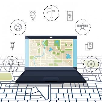 Ordinateur portable avec logiciel de navigation gps
