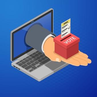 Ordinateur portable avec main, urne et bulletin de vote. concept de vote électronique en ligne internet. icônes isométriques.