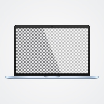 Ordinateur portable maquette avec écran transparent sur blanc