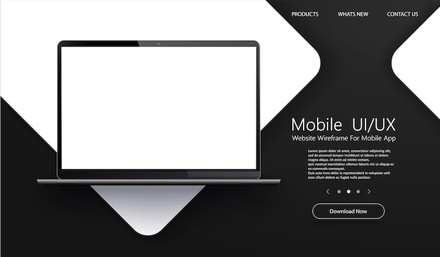 Ordinateur portable moderne avec écrans d'application vierges.