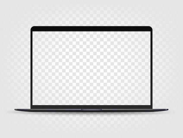 Ordinateur portable moderne avec maquette d'écran transparent