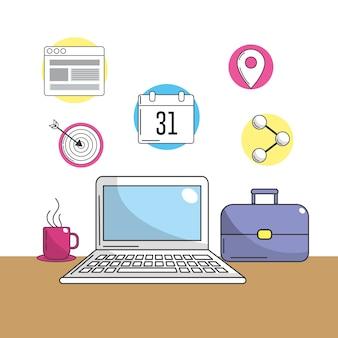 Ordinateur portable avec des outils de l'entreprise pour l'information