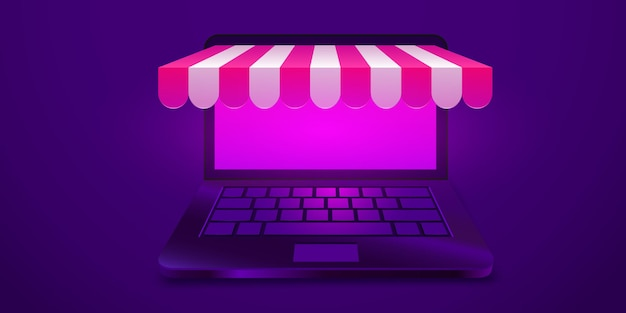 Ordinateur portable ouvert d'achats en ligne avec la bannière de concept de magasin en ligne d'auvent pour l'ecom de marketing et de promotion...