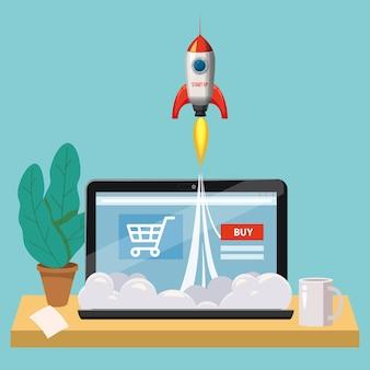 Ordinateur portable ouvert avec écran d'achat, concept, lancement de boutique en ligne, lancement de fusées, vecteur, illustration