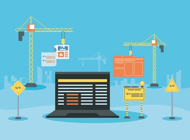 Ordinateur portable avec une page web en construction
