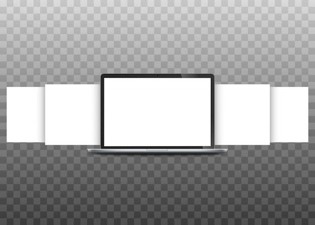 Ordinateur portable avec des pages blanches. concept de présentation de projets de conception web.
