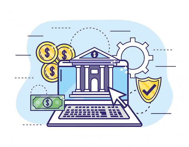Ordinateur portable avec pièces et bouclier pour les services bancaires en ligne