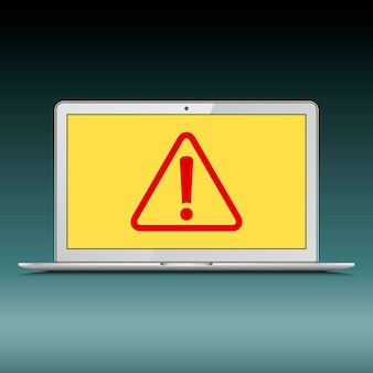 Ordinateur portable avec point d'exclamation sur l'écran