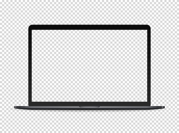 Ordinateur portable premium moderne sur fond sombre. écran transparent pour un contenu
