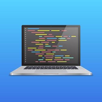 Ordinateur portable réaliste avec code à l'écran sur fond dégradé bleu. concept pour développeur web, design, programmation. illustration vectorielle.