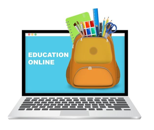 Ordinateur portable avec sac à dos plein de fournitures scolaires vector illustration éducation en ligne distance ...