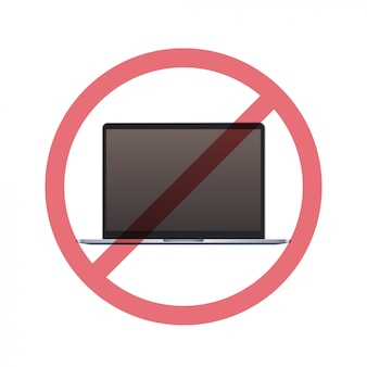 Ordinateur portable en signe d'interdiction concept de désintoxication numérique n'utilisez pas d'ordinateur