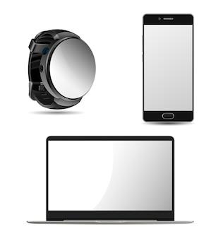 Ordinateur portable, smartwatch et design de téléphone portable