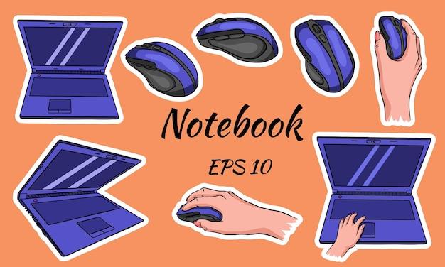 Ordinateur portable. souris pour l'ordinateur en main. style de bande dessinée.