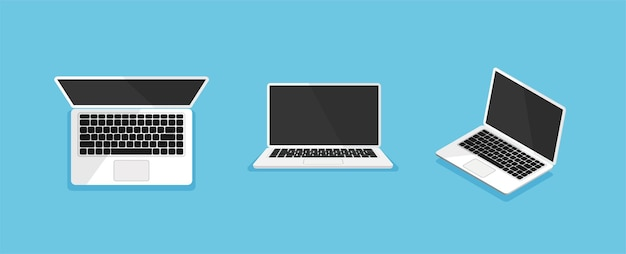 Ordinateur portable sous différents angles ou positions ordinateur simulé isolé vue de dessus avant et isométrique