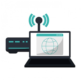 Ordinateur portable avec symbole internet routeur wifi