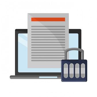 Ordinateur portable avec symboles de cadenas de documents