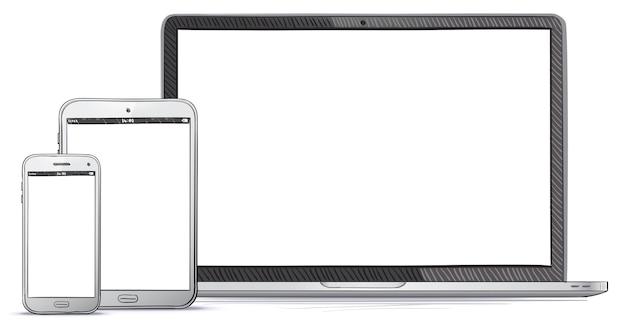 Ordinateur portable, tablet pc, illustration de téléphone portable dessinés à la main.