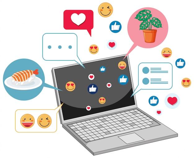 Ordinateur portable avec le thème d'icône de médias sociaux isolé sur fond blanc