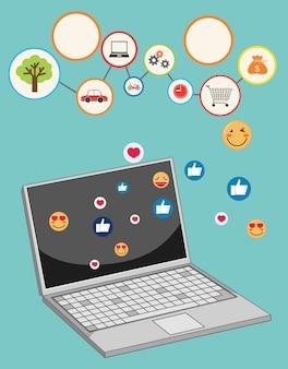 Ordinateur portable avec thème d'icône de médias sociaux isolé sur fond bleu