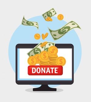 Ordinateur pour le don en ligne de charité