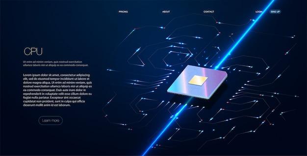 Ordinateur quantique, traitement de données volumineuses, concept de base de données.cpu isométrique