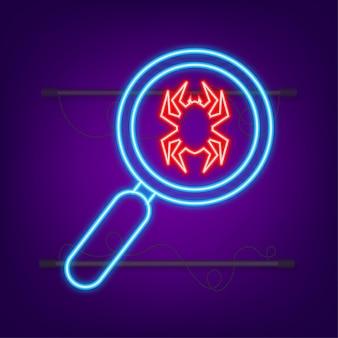 Ordinateur de recherche de virus dans un style plat icône néon symbole de protection technologie internet
