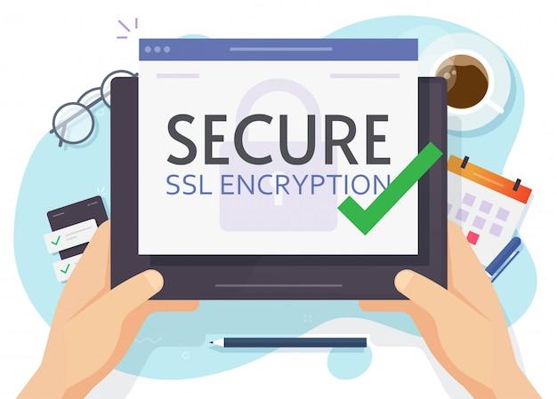 Ordinateur tablette numérique et connexion cryptée sécurisée ssl dans le style plat de vecteur main personne