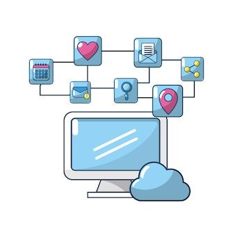 Ordinateur de technologie avec élément de connexion apps