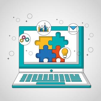 Ordinateur de travail d'équipe avec puzzle à l'écran