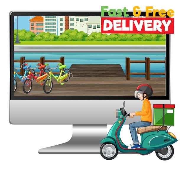 Ordinateur avec vélo homme ou courrier et logo de livraison rapide et gratuite