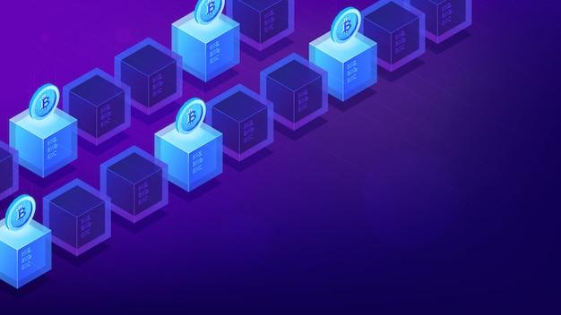 Ordinateurs d'exploration de bitcoins isométrique