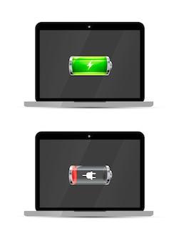 Ordinateurs portables avec batterie brillante pleine et vide, isolé