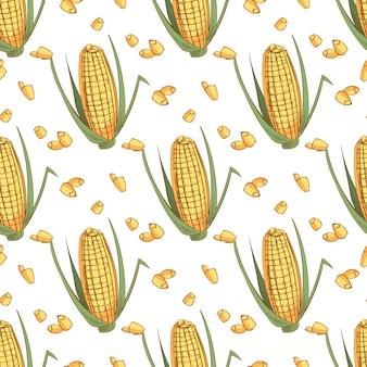 Oreille de croquis dessiné main de modèle sans couture de maïs