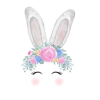 Oreille de lapin de pâques aquarelle avec couronne de tournesol