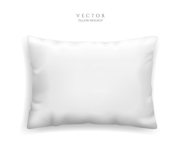 Oreiller blanc propre isolé sur fond blanc, illustration dans un style réaliste. coussin rectangulaire pour modèle de relaxation et de sommeil.