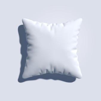 Oreiller blanc vierge 3d réaliste prêt pour la texture ou le motif