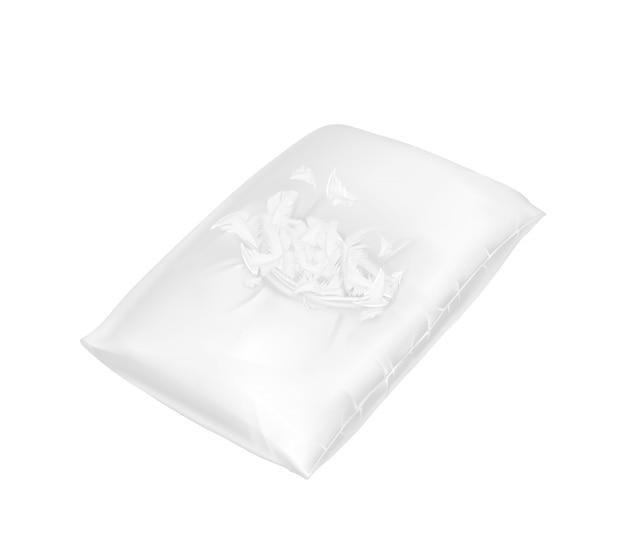Oreiller carré 3d déchiré réaliste. modèle, maquette de coussin confortable blanc moelleux