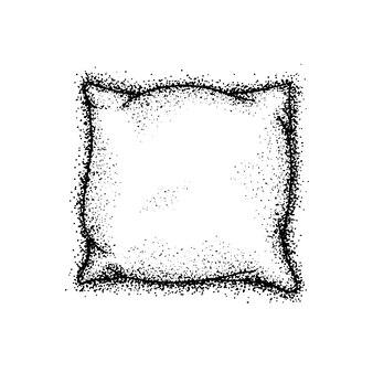 Oreiller de lit dotwork. illustration vectorielle de croquis dessinés à la main. doodle à l'encre noire.