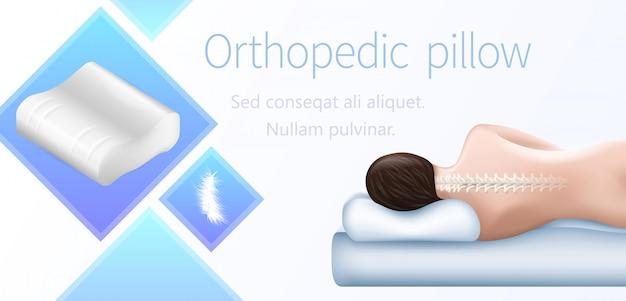 Oreiller orthopédique, position de sommeil correcte.