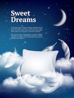 Oreiller de rêve de nuit. affiche publicitaire avec des nuages et des plumes d'oreillers concept réaliste d'espace confortable