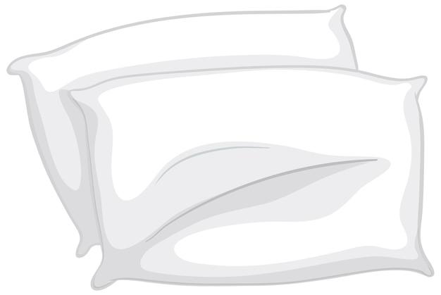 Oreillers blancs pour lit sur fond blanc
