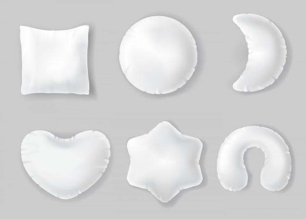 Oreillers en coton blanc, coussins moelleux