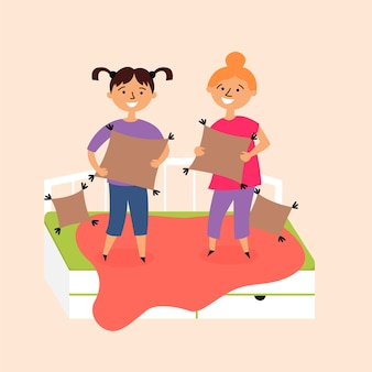 Oreillers de lit de saut de pyjama d'enfants