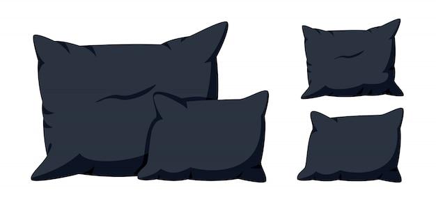 Oreillers noirs, jeu de dessin animé plat. textile d'intérieur pour la maison. modèle de maquette d'oreillers carrés doux et élégants, pour lit, canapé. coussin foncé