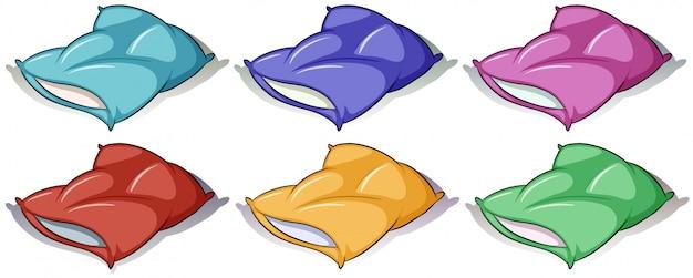 Oreillers de six couleurs différentes