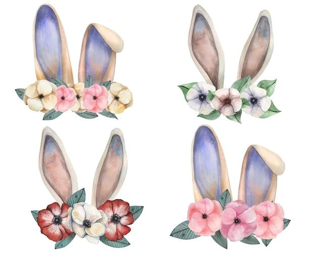 Oreilles de lapin aquarelle mignonnes avec ensemble de couronne d'anémones vintage tendre