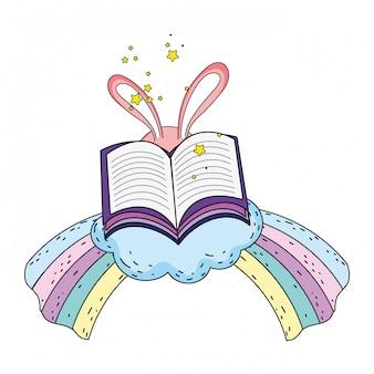 Oreilles de lapin magique avec livre et arc-en-ciel