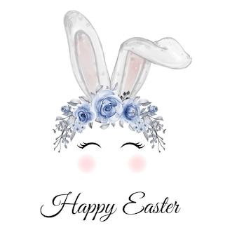 Oreilles de lapin de pâques aquarelle avec couronne de fleurs