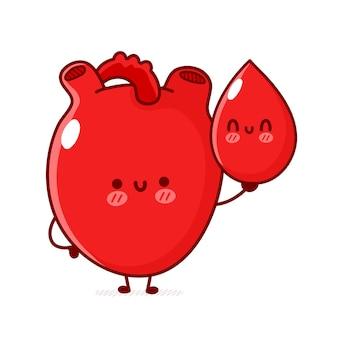 Un organe cardiaque humain drôle et mignon tient une goutte de sang